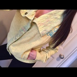 Bke lounge yellow crochet button up sweater Small